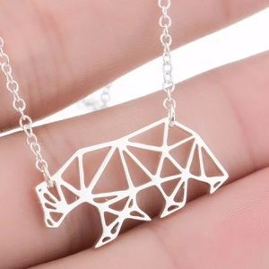 🎉 Silver Stainless Steel Origami Bear Necklace